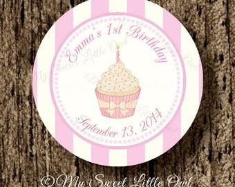Pink Cupcake Topper - cupcake birthday - cupcake printable - cupcake printable - cupcake sticker - cupcake label - girl cupcake baby shower