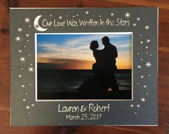 "Custom Wedding ""Our Love Was Written In the Stars"" Photo Mat - with names & date"