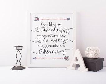 laughter is timeless printable · disney print · tribal arrow print · kids room print · nursery wall decor · playroom wall art · whimsical