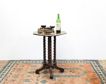 Inlayed Barley Twist Four Legged Table with Brass Molded Top Edge