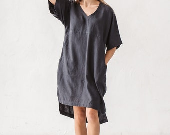 Graphite grey linen dress, V neck linen dress, Minimal linen dress, Linen tunic, Minimal linen tunic, Washed linen clothes, Loose dress