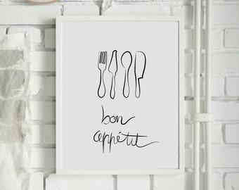 Bon appetit - Kitchen print - Kitchen art print  - Kitchen decor - knife and fork - Monochrome - Digital print - Custom Size