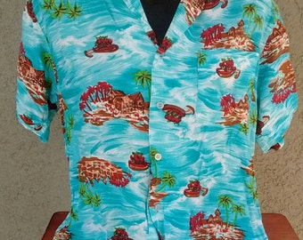 Vintage 70s L'Avion Hawaiian Rayon Shirt L