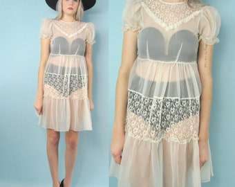 50s Sheer Lace Babydoll Dress