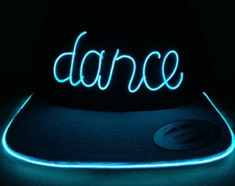 Light Up DANCE Hat made with El Wire in all colors; blue, green, orange, yellow, pink, purple, white