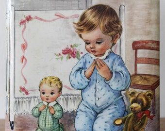 Vintage 1970s Praying Boy Religious Tin Art Kitsch Cute
