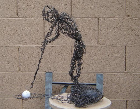 Items Similar To Golfer Wire Sculpture