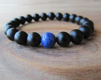 Lapis Lazuli and Matte Black Onyx Bracelet, Stacking Bracelet, Men's Bracelet, Mala Bracelet, Layering Bracelet, Beaded Lapis Bracelet