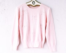 Vintag 80s 90s Bow Pearl Sweater // Pale Pink Fuzzy Mohair Kawaii Beaded Sweater