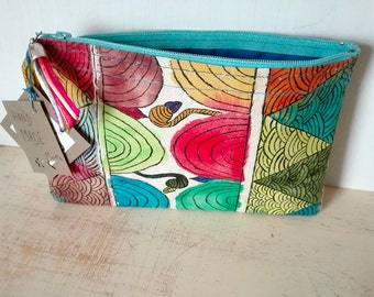 Tribal fabric Zipper Pouch hand painted Clutch textil paints cotton gifts for her