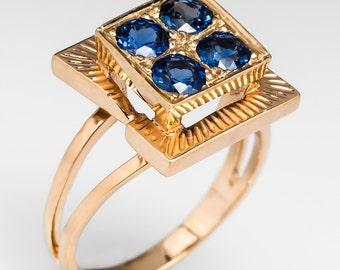 Retro Blue Sapphire Unique Vintage 14K Yellow Gold Ring HH408
