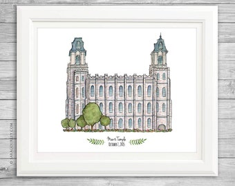 Manti Utah Temple Watercolor Art Print- Personalized Gift, Painting, Wall Decor, Illustration, LDS Art, LDS Temple, Wedding Gift, Date