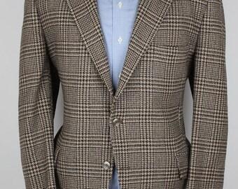 Brown Glen Plaid Mens Tweed Jacket - Story Brook Beige Wool 42 S mens Sport Coat Blazer