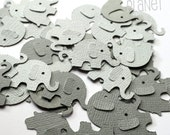 Elephant confetti, 100 shapes in grey. Elephant baby shower or birthday, scrapbooking, DIY craft, cardmaking, table confetti, decorations.