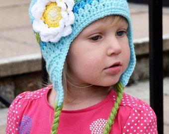 Handmade Crochet hat for girls, Blue hat, Flower hat