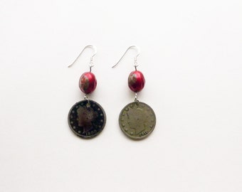 US V nickel coins, red vintage bead and sterling silver dangle earrings