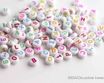 200 Acrylic Plastic Alphabet Letter Beads 7mm Mixed Letters & Colours, Beads For Name Bracelets (ACR025)