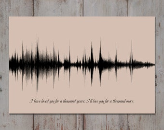 Wedding Song Lyric Art, 1 Year Anniversary Gift, Song Sound Wave Art, Custom Song, Wedding Song Gift, 1st Anniversary Print