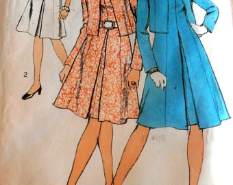 70s Vintage Mod  Dress and Jacket Pattern, Simplicity 9865 Sewing pattern, Size 18 bust 40, 70s clothing, Fashion Dress, Epsteam