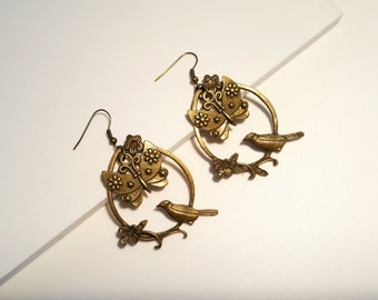 Vintage Style Bronze Tone Earrings with Bird and Butterfly Drop Earrings