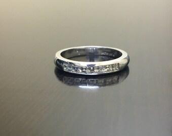 Art Deco Platinum Asscher Cut Diamond Engagement Band - Platinum Diamond Wedding Band - Asscher Cut Ring - Asscher Cut Band - Platinum Band
