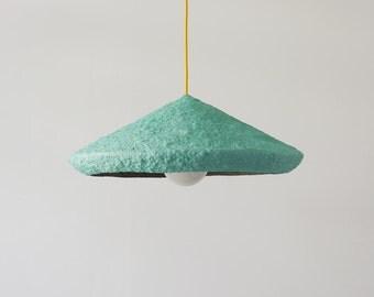 Modern Pendant Light Modern Pendant Lamp Industrial Lighting Industrial Lamp Shade Minimalist Light Paper Mache Lamp Shade Mizuko Green