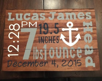 Customized Wooden Birth Announcement