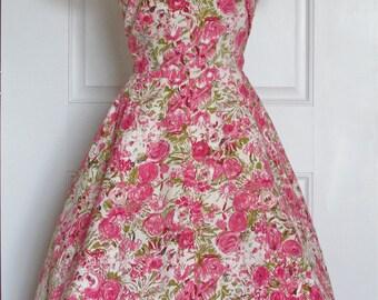 1950s Floral Dress // 50s Pink Sequins Dress // Vintage Rose Dress