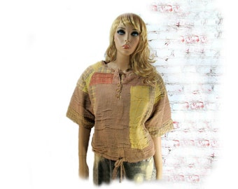 Bohemian Top,altered top,casual top, unique clothing, earthy clothing, Med / Large  # 117