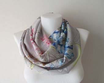 Grey Floral Infinity Scarf, Gray Lightweight Scarf, Circle Scarf, Loop Scarf, Double Layer Shawl, Fall Winter Spring Summer Fashion, For her