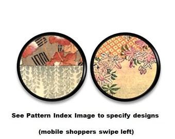 Beautiful Oriental Floral Tapestry Art Drawer Knob - Red Gray Gold Taupe Orange, Asian Decor, Decorative Pull, Dresser, Cabinet - 315C31 *