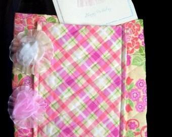Ballerina Bag SALE, Princess Bag, Teen Young Girl Dancing Accessory, Pink Tangerine Plaid Med Bag, Birthday Card Removable Flower Pin