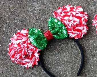 Red and Green Couture Mouse Ears Christmas Headband- Vacation,Holiday, Christmas,Mouse,Ears,photo prop,red and Green,December,