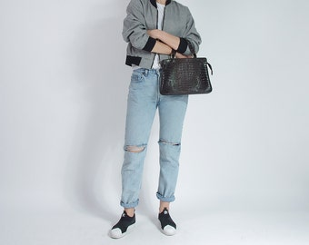 40% OFF SALE - 80s Crocodile Embossed Street Style Eco Vegan Leather Top Handle Bag