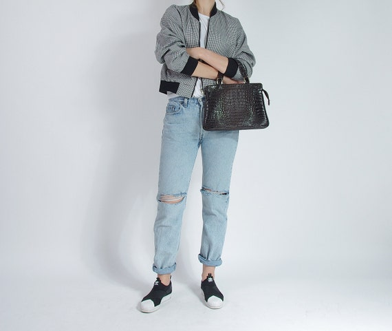 SALE - 80s Crocodile Embossed Street Style Eco Vegan Leather Top Handle Bag