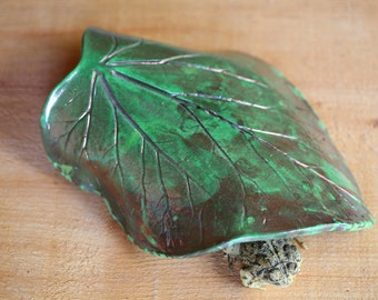 Copper Lime Green Rhubarb Leaf Toad House Raku for the Garden