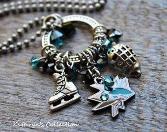 San Jose Sharks necklace, San Jose Sharks, Sharks Jewelry, Hockey Jewelry, Hockey Fan, Shark Attack