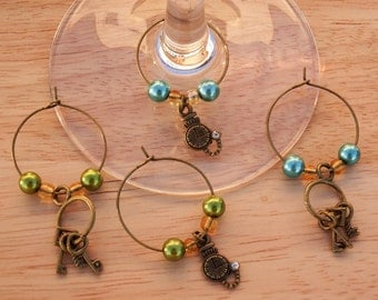 Steampunk Set of 4 Wine Glass Charms