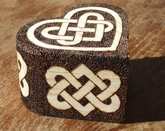 Wooden trinket box with Celtic Knotwork Heart design - wedding gift, newlywed gift, valentines gift, engagement ring box, personalised gift