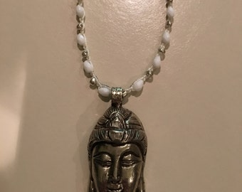 Crochet White Buddha Necklace