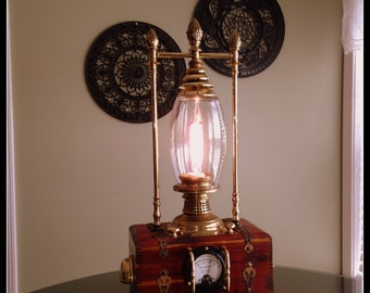Handsome one of a kind sci fi and steampunk inspired lamp