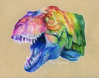 Rainbow T-Rex PRINT