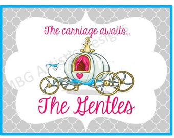Stroller Tag - Custom, Personalized, Disney Princess Carriage Vacation Tag for your stroller