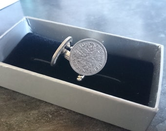 Lucky Sixpence Cufflinks: For wedding / anniversary / groom / groomsmen / special birthday