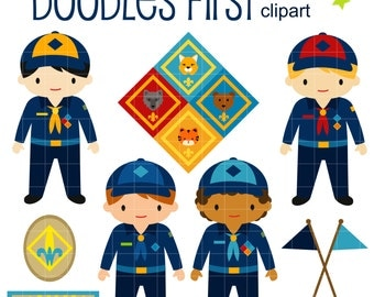 Cub Scouts Clip Art for Scrapbooking Card Making Cupcake Toppers Paper Crafts