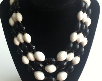 Vintage Black and White 3 Strand Necklace