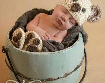 Handmade Baby Koala Bear Bonnet Hat / Newborn Infant Crochet Photo Prop / Perfect Baby Shower Gift / Teddy Bear Outfit