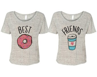 Best Friends Donut And Coffee Duo Flowy T-Shirt; Best Friend Shirts; Together Forever; Couple Top