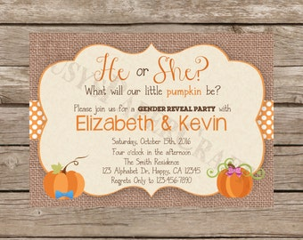 Pumpkin Gender Reveal Invitation, Digital File, You Print