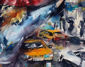 Original Watercolor Painting Cityscape with Yellow Taxi Cars and Woman Hailing a Taxi